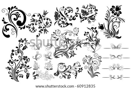 Collection of different tattoo design elements - stock vector