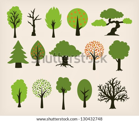 Collection of different trees cartoon - stock vector