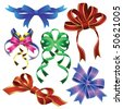 collection of different types of bows for decoration and design - stock vector