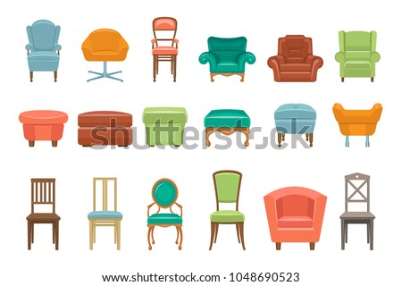 Collection Of Different Types Seating. Armchairs, Chairs, Poufs.  Comfortable Furniture. Elements