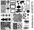 Collection of different vector shapes and patterns for designing - stock vector