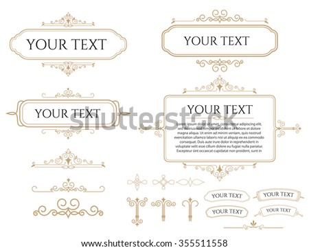 Collection of different vintage frames, templates and design elements. Retro  typographic design elements. Template for design invitations, posters and other design. - stock vector