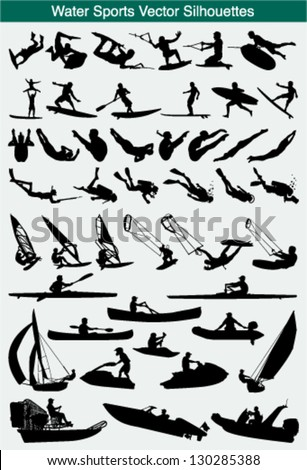 Collection of different water sports silhouettes - stock vector