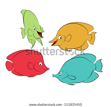 Collection of diffirent colorful cartoon smiling fishes