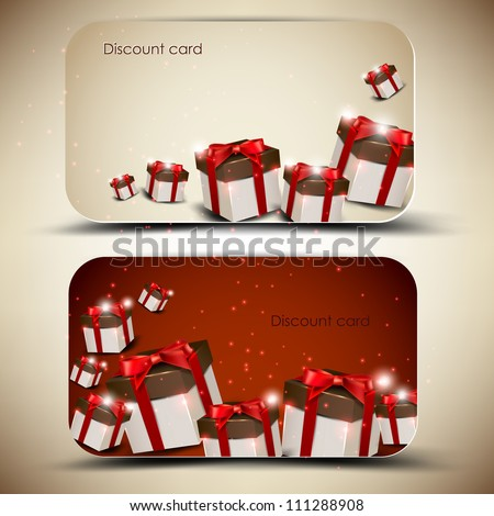 Collection of discount cards with gifts. Vector background - stock vector