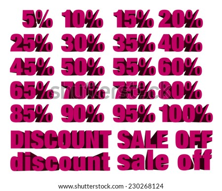collection of discount numbers isolated on white background - stock vector