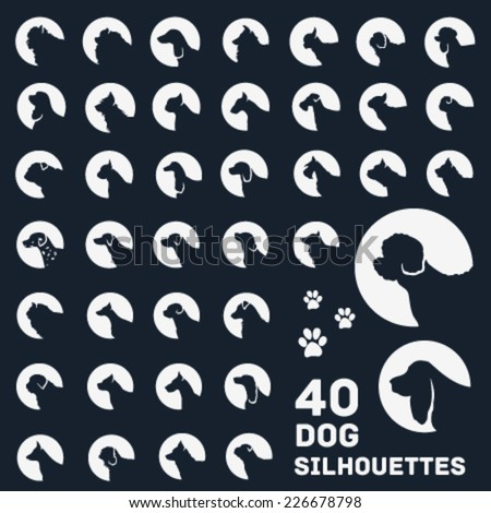 Collection of Dog Silhouettes. Vector Icons. - stock vector