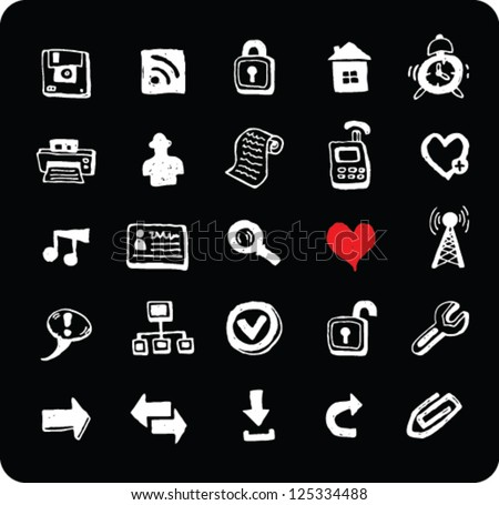 Collection of doodle black and white web and office icons isolated on black background
