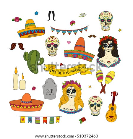 Collection of doodle hand drawn vector elements for Dia de los Muertos (the Day of the Dead)