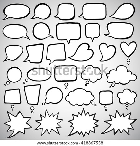 Collection of doodle style speech bubbles. Talking, speaking, chatting, screaming, laughing, exclaiming, thinking, dreaming, meditating bubbles. Ink drawn shapes with uneven edges.  - stock vector