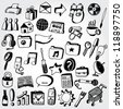 Collection of Doodled Icons - stock vector