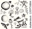 Collection of doodles and drawings in vector format with a variety of elements. - stock vector