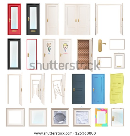 Collection of doors. Vector illustration. - stock vector