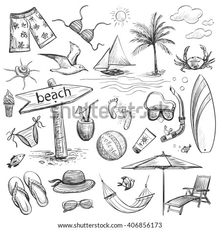 Collection of drawings of hands on vacation , sea, beach . Isolated pictures on a light background .
