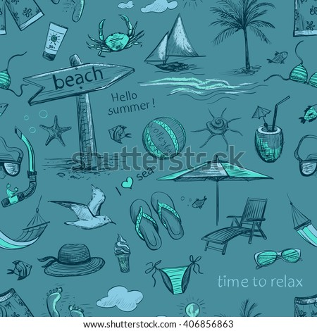 Collection of drawings of hands on vacation , sea, beach . Isolated pictures on a light background. Seamless pattern