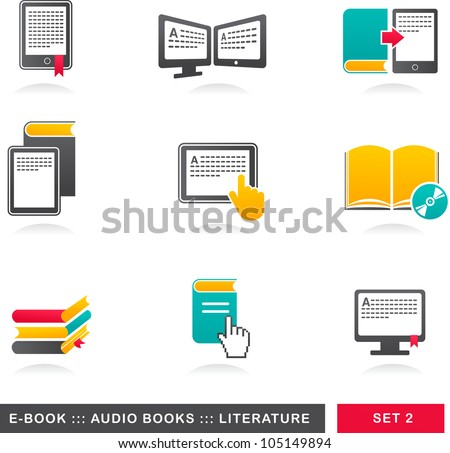 collection of E-book, audiobook and literature icons - 2 - stock vector