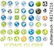 collection of earth globes icons, illustration. Vector format - stock vector