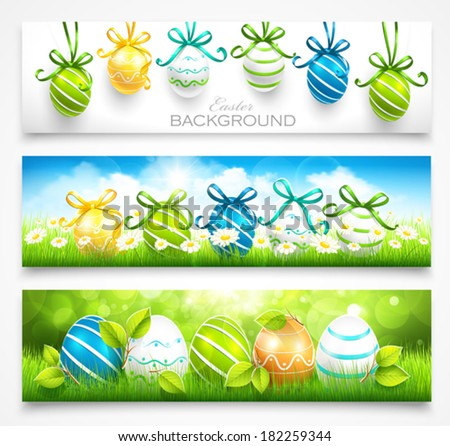 Collection of easter banners - stock vector