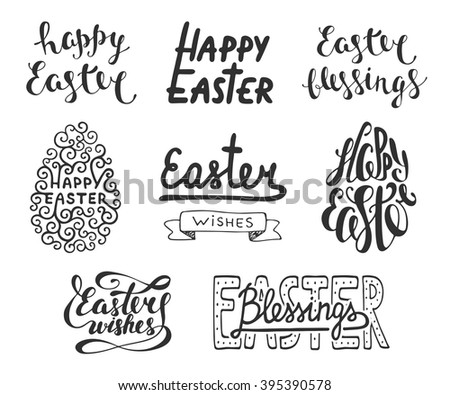 Collection of Easter vector typography design elements for greeting cards, invitation, overlays, prints and posters. Hand drawn lettering in vintage style isolated on white background.