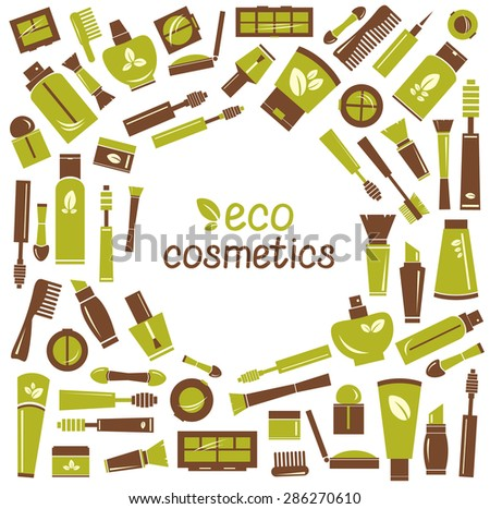 Collection of eco cosmetics icons. Vector of isolated cosmetics elements. - stock vector