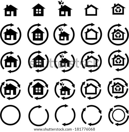 Collection of ecohouse vector icons  - stock vector