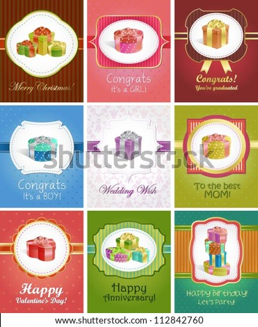 Collection of 9 editable greeting cards with gift boxes for different occasions - stock vector