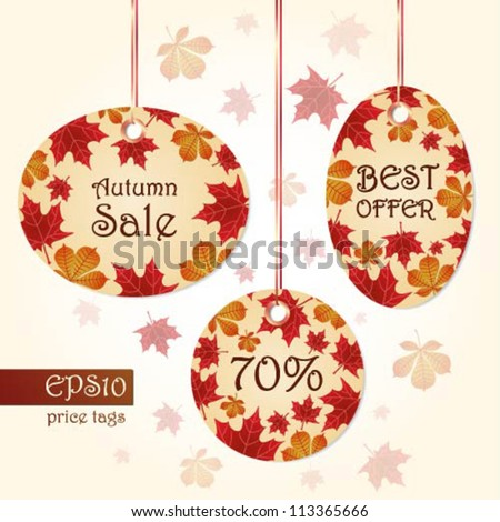 Collection of editable hanging labels with autumn leaves