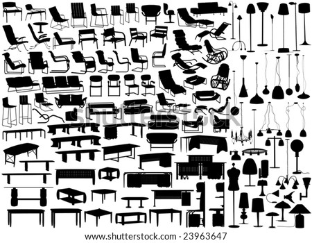 Collection of editable vector furniture and light fixture silhouettes - stock vector