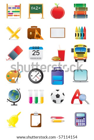 Collection of education and school icons, vector illustration