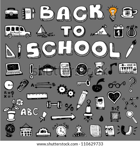 Collection of education hand-drawn doodle 50+ icons with Back To School text