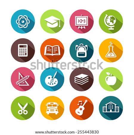 Collection of education icons in flat design style. - stock vector