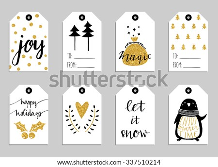 Collection of eight gold texture Christmas and New Year cute ready-to-use gift tags. Set of 8 printable hand drawn holiday label in black white and gold. Vector seasonal badge design - stock vector