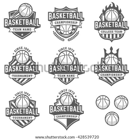 Collection of eight greyscale Vector Basketball logo and insignias - stock vector
