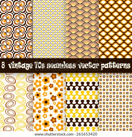 collection of eight seamless vintage 70s backgrounds - stock vector