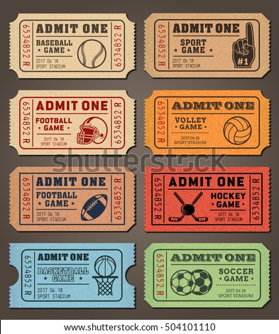 Collection Of Eight Vector Sport Tickets Templates In Colorful Vintage Look.