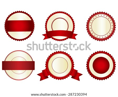 Collection of elegant red and gold empty stamps/ seals - stock vector