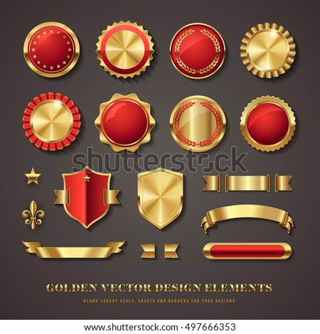collection of elegant red and golden vector design elements - seals, labels, medals, crests, banners, star and fleur de lis