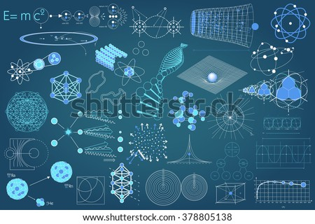 Collection of elements, symbols and schemes of physics, chemistry and sacred geometry. The science theme.  - stock vector