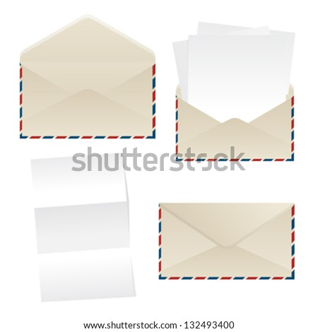 Collection of envelopes and empty paper sheets over white background