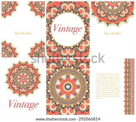 Collection Of Ethnic Cards And Wedding Invitations With Indian Ornament Vintage Decorative Round Elements