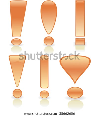 Collection of exclamation marks in gold colour. Vector illustration - stock vector