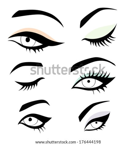 Collection of eyes - stock vector