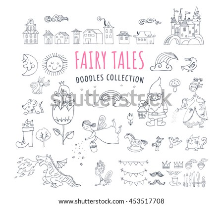 Collection of fairy tales hand drawn doodles, illustrations - stock vector