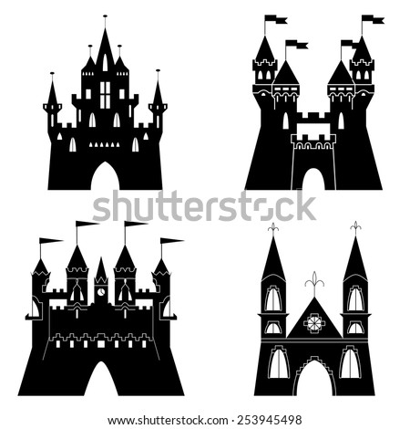 Collection of fairytale castle silhouettes. Vector illustration - stock vector
