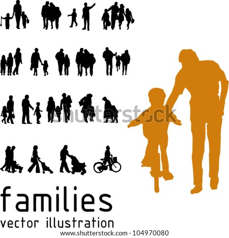 Collection of families silhouette in motion. Vector illustration - stock vector