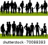 collection of family silhouettes - stock photo