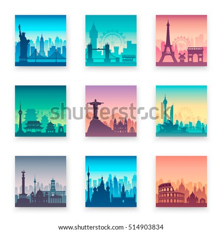 Collection of famous city capes. Flat well known silhouettes. Vector illustration easy to edit.