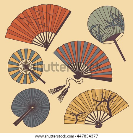 Collection of fans: hand drawn icon. Doodle set of objects. Cartoon background vector
