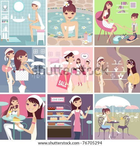 collection of fashion girl lifestyle - stock vector