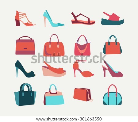 Collection of  fashion Women bags handbags and High Heels shoes in flat style - stock vector